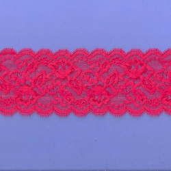 """50 Yds  3""""  Powley Red Stretch Lace   4476"""