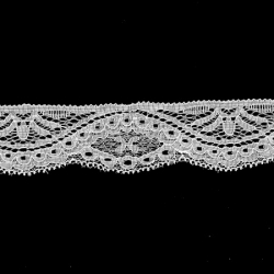 "5 Yds   1 3/4""  Off White Stretch Lace   4565"