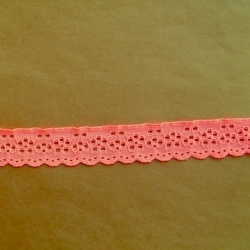 "190 Yds  1 1/8""   Spool Orangy Pink Eyelet Stretch Lace  4833"