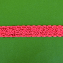 """100 Yds 1"""" l Neon  Hot  Pink Stretch Lace  4862"""