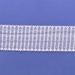 """5 Yds 2 1/2""""  White/w Pink Stretch Lace  4865"""