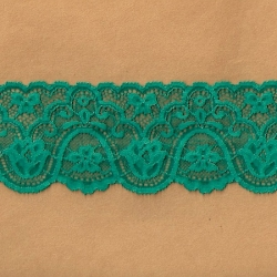 "5 Yds 3""  Forest Green Stretch Lace  4866"