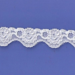 """100 Yds  1 1/8"""" Spool White Stretch Lace 4869"""