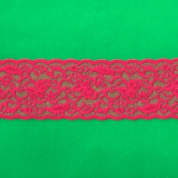 "50 Yds 2 1/2""  Spool Hot  Pinky Red Stretch Lace  4887"
