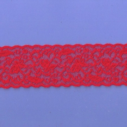 """50 Yds 2 3/8""""  Red Stretch Lace  4888"""