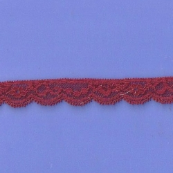 """288 Yds  3/4"""" Spool Pinot Red Stretch Lace 4893"""