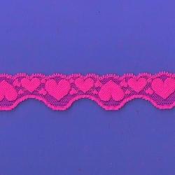 """5 Yds  1 1/8""""  Gypsy Rose Hearts Stretch Lace 4894"""