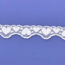 "100 Yds  1 1/8"" Spool  White Hearts Stretch Lace 4916"