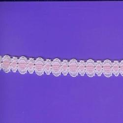 """5 Yds   5/8""""    Pink & White Trim   1189"""