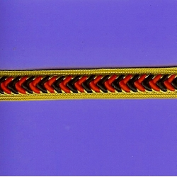"8 Yds  1/2""  Red/Black/Gold Trim   1559"